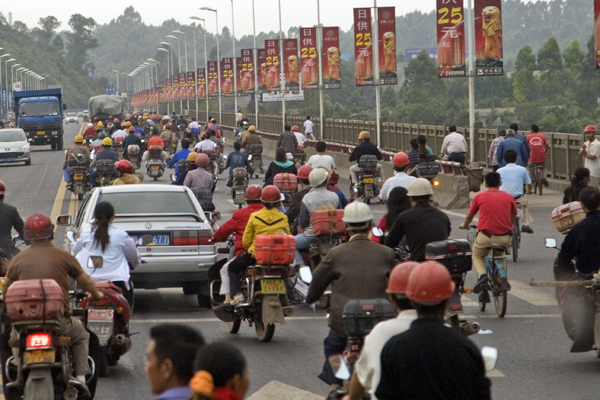 Motorcycle and bicycle traffic